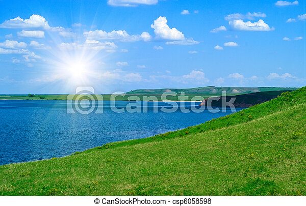 landscape with quiet water of lake - csp6058598