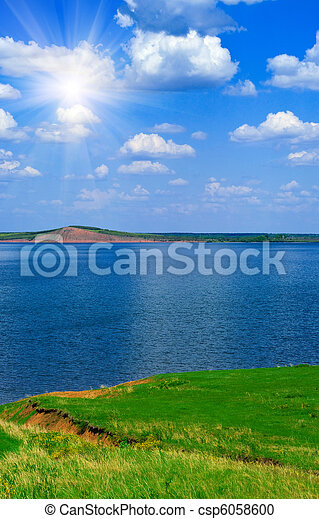 landscape with quiet water of lake - csp6058600