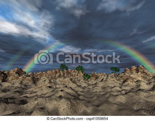 Landscape with rainbow - csp41059654