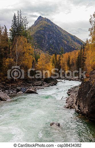 Landscape with rapid river - csp38434382