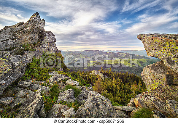 Landscape with rock in mountains forest - csp50871266