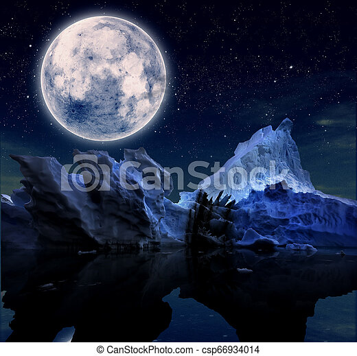 landscape with starry night and a full moon - csp66934014