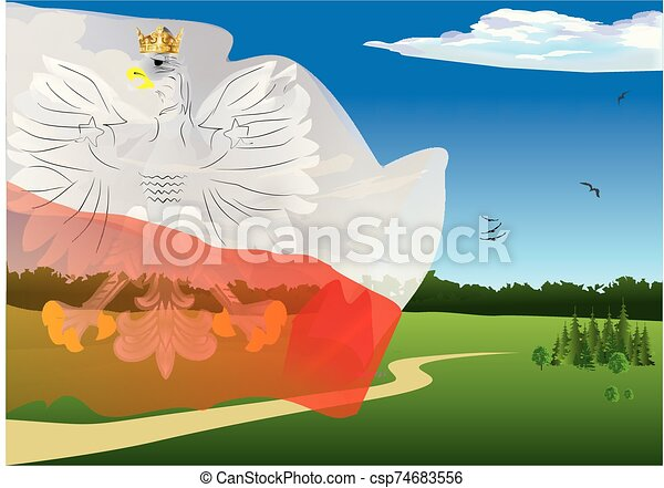 landscape with the flag and the emblem of Poland - csp74683556