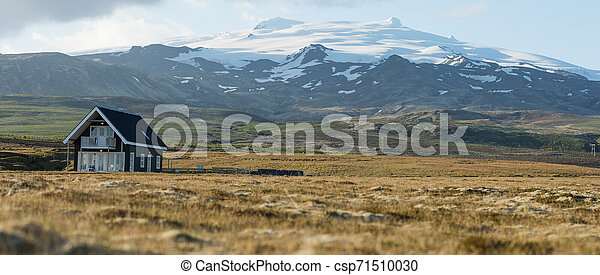 Landscape with typical house in Iceland. - csp71510030