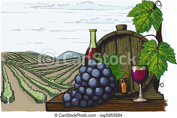 Landscape with views of vineyards, tanks for wine and grapes. in a woodcut like method - csp5953584