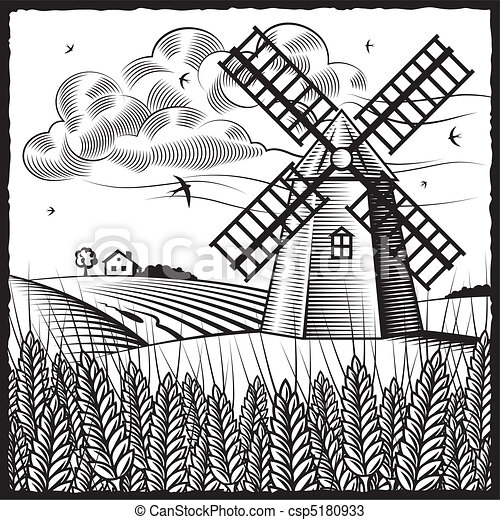 Landscape with windmill - csp5180933