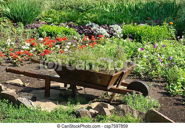 landscaped, bloemtuin - csp7597859