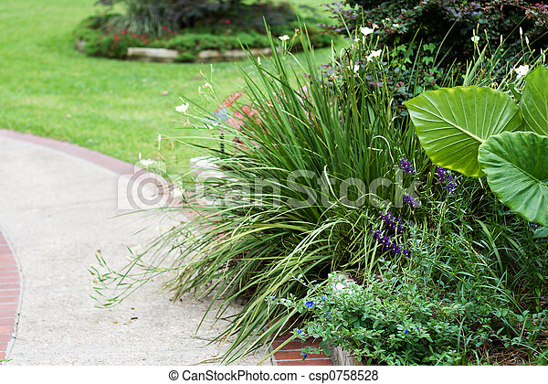 Landscaped Sidewalk - csp0758528