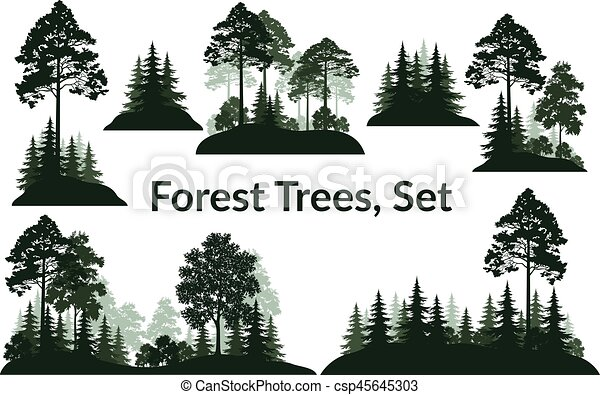 Landscapes, Trees Silhouettes - csp45645303