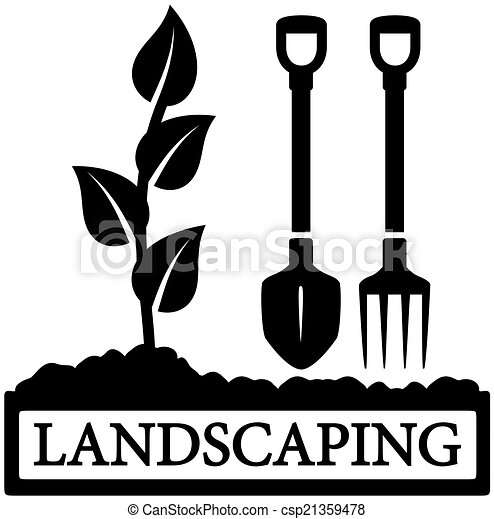 black landscaping icon with sprout and gardening tools silhouette rh canstockphoto com Lawn Care Clip Art Landscaping Islands Clip Art