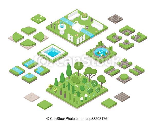 Landscaping Isometric 3d Garden Design Elements
