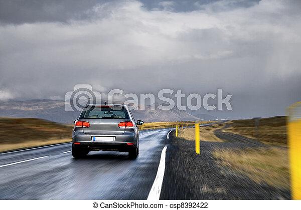 landschaft, auto, straße - csp8392422