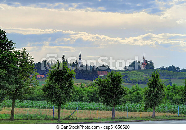 landschaft, goricak, kroatien, kirchen - csp51656520