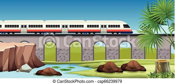 Moderner Zug aufs Land - csp66239979