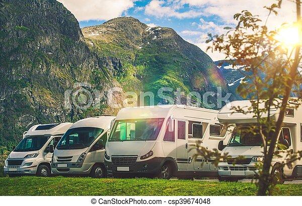 landschaftlich, campingbus, park, camping - csp39674048