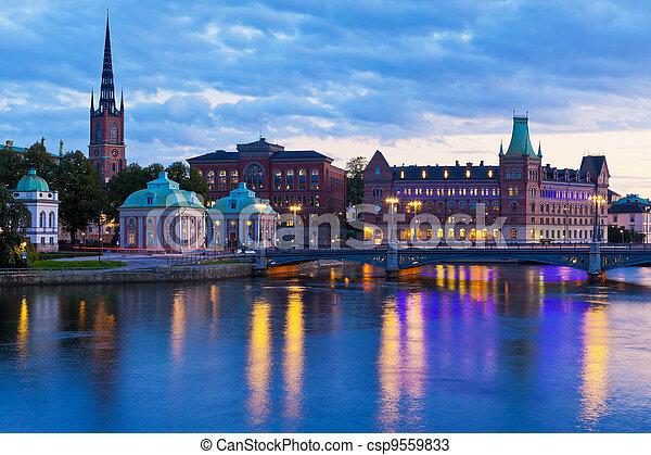 landschaftlich, stockholm, abend, schweden, panorama - csp9559833