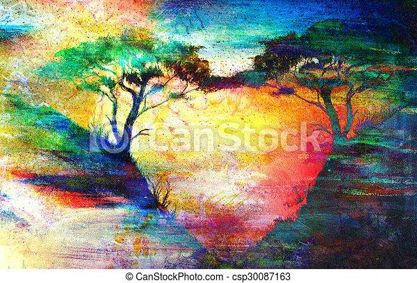 Landschaftsbild farbe tapete baum meer collage for Tapete baum