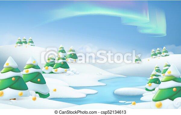 landschap., winter, illustratie, vector, achtergrond, kerstmis, 3d - csp52134613
