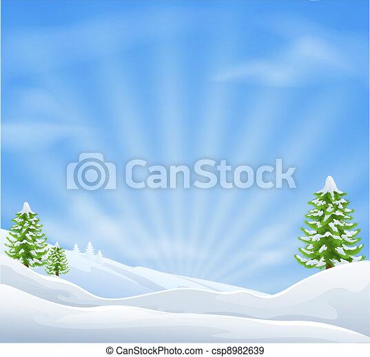 landskap, jul, bakgrund, snö - csp8982639