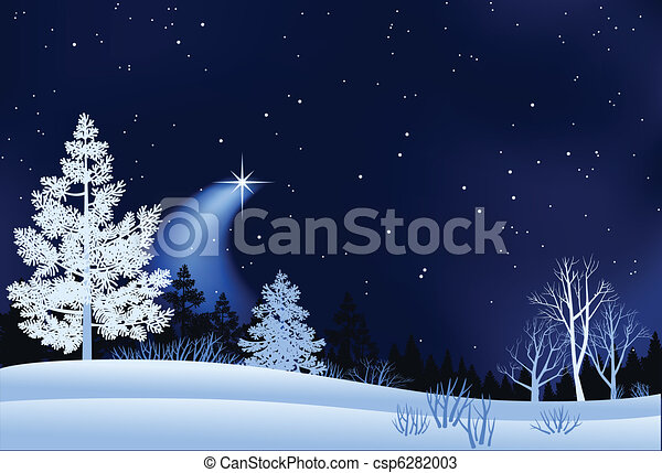 landskap, vinter, illustration - csp6282003