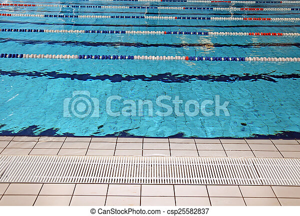 lane swimming races in the olympic swimming pool empty stock photo - Olympic Swimming Pool Lanes