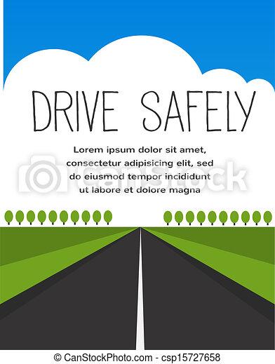 Fahren Sie vorsichtig, lange, leere Straße - csp15727658