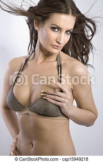 langerie, excitado, mulher - csp15949218