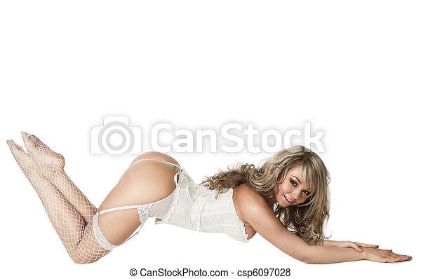 langerie, excitado, mulher - csp6097028