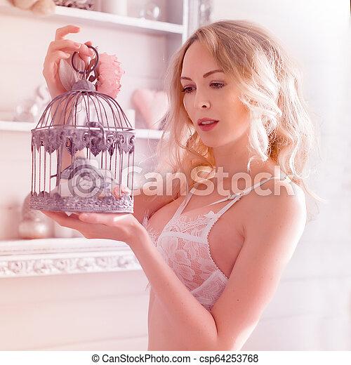 langerie, quarto branco, renda, mulher, desgastar - csp64253768