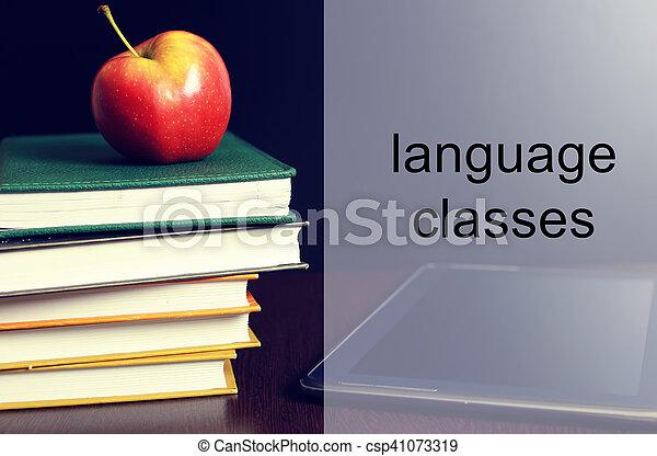 language classes apple book stack - csp41073319
