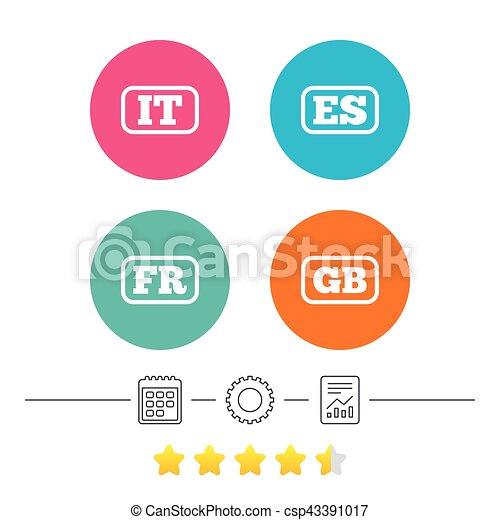 Language icons. IT, ES, FR and GB translation. - csp43391017