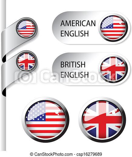 langue, indicateurs, -, drapeau, britannique, américain, vecteur, anglaise - csp16279689
