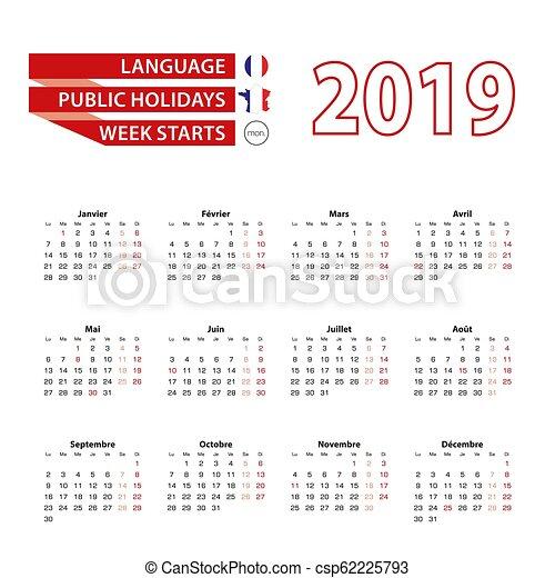 Calendrier Francais 2019.Langue Pays Francais Fetes France 2019 Annee Calendrier 2019 Public