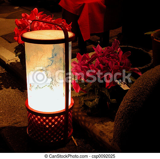 Lantern and flowers in the night - csp0092025