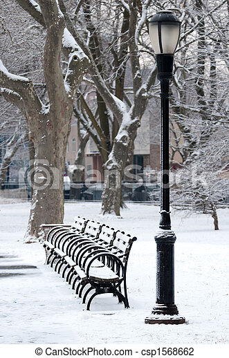 Lantern and the benches in a park - csp1568662