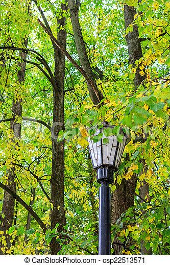 lantern in autumn park - csp22513571