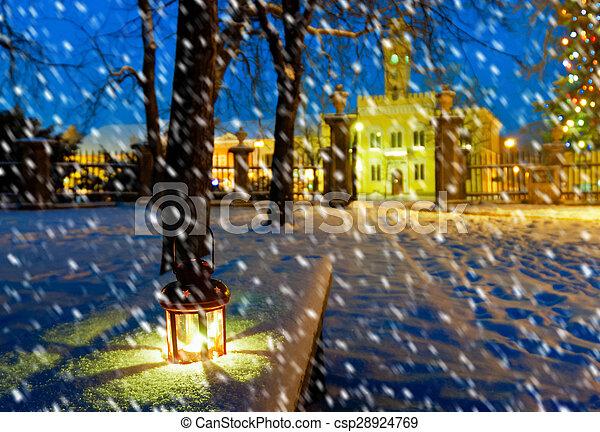 lantern in park at night - csp28924769