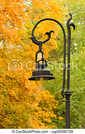 Lantern in the park autumn - csp30390729