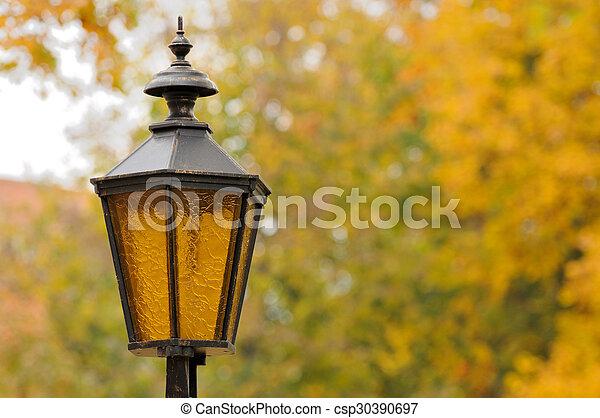 Lantern in the park autumn - csp30390697