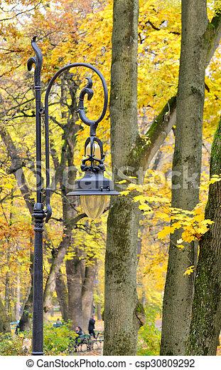 Lantern in the park autumn - csp30809292