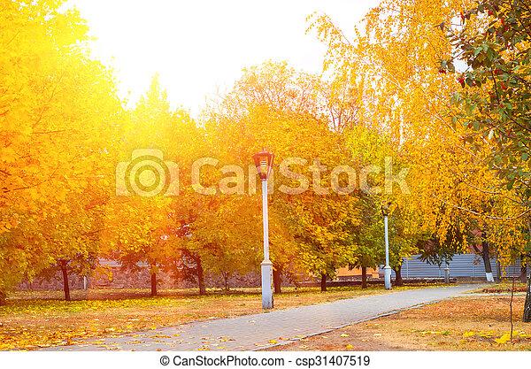 Lantern in the park warm autumn - csp31407519