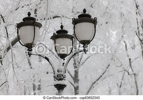 lantern in winter - csp63652343