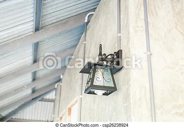 lantern lamp on wall - csp26238924