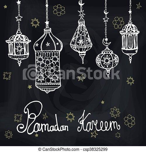 Lantern of ramadan kareemodle greeting cardalkboard lantern of ramadan kareemodle greeting cardalkboard csp38325299 m4hsunfo