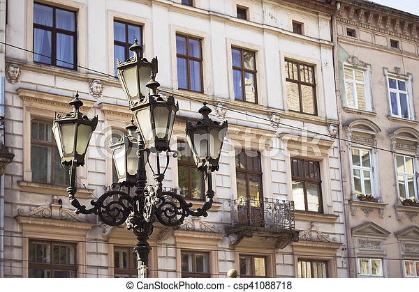 lantern on the square in Lviv - csp41088718