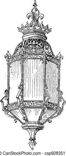 Lantern Vintage Engraving Engraved Illustration