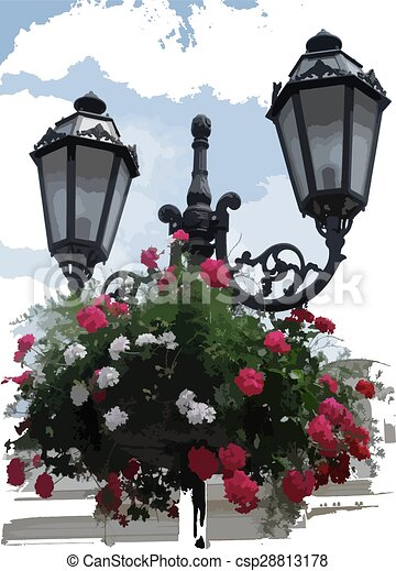 Lantern with Hanging Baskets - Vector Illustration - csp28813178