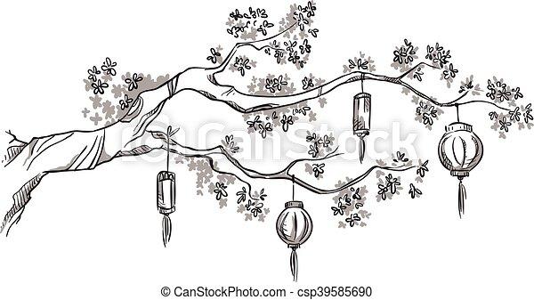 Lanternes branche arbre chinois chinois arbre illustration vecteur lanternes branche - Dessin arbre chinois ...