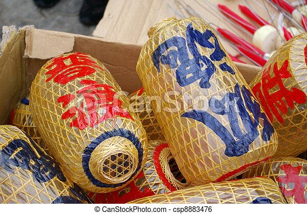 Lanterns for Cheung Chau Bun Festival, Hong Kong. - csp8883476