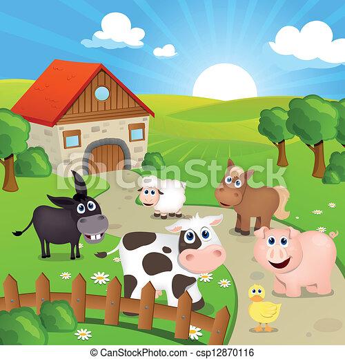lantgård, vektor, djuren - csp12870116